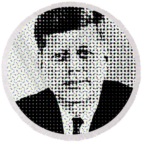 John F Kennedy In Dots Round Beach Towel