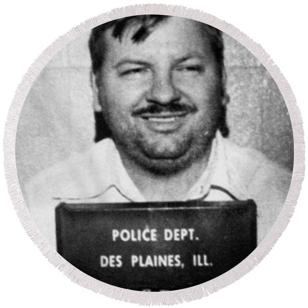John Wayne Gacy Mug Shot 1980 Black And White Round Beach Towel