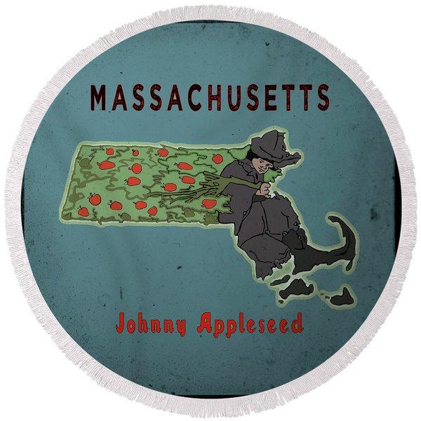 Round Beach Towel featuring the digital art Johnny Appleseed by Megan Dirsa-DuBois