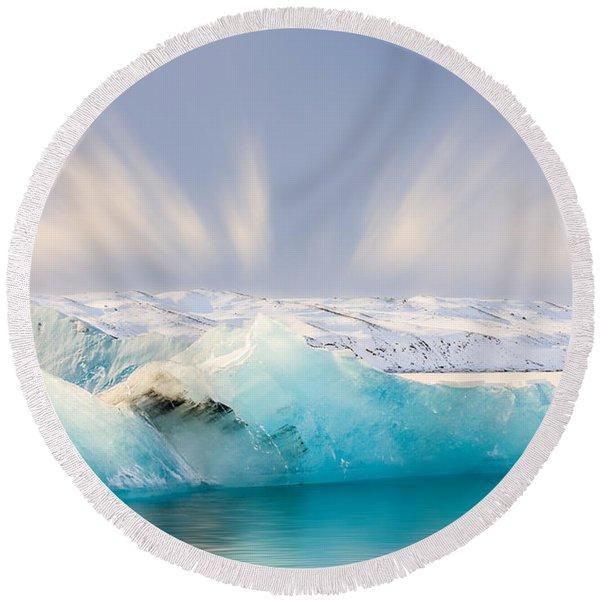 Jokulsarlon Glacier Lagoon Round Beach Towel