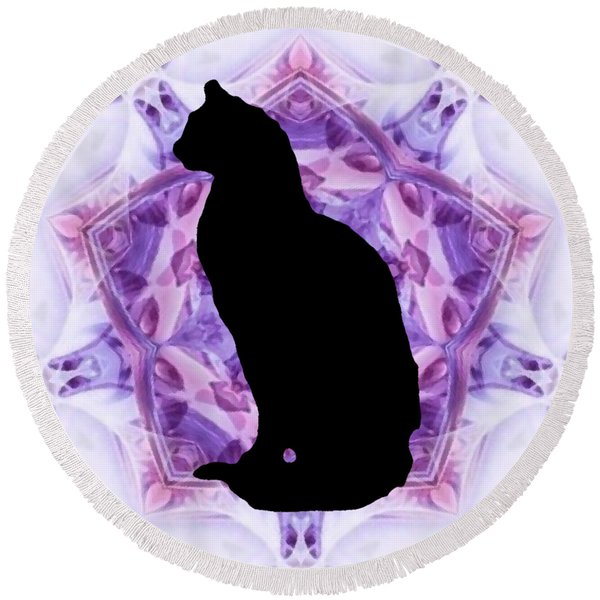 Kaleidoscope Cat Silhouette Round Beach Towel