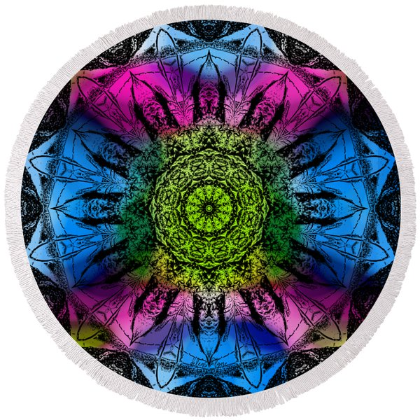 Kaleidoscope - Colorful Round Beach Towel