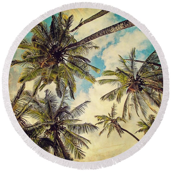 Kauai Island Palms - Blue Hawaii Photography Round Beach Towel