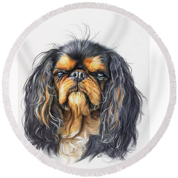 King Charles Spaniel In Watercolor Round Beach Towel