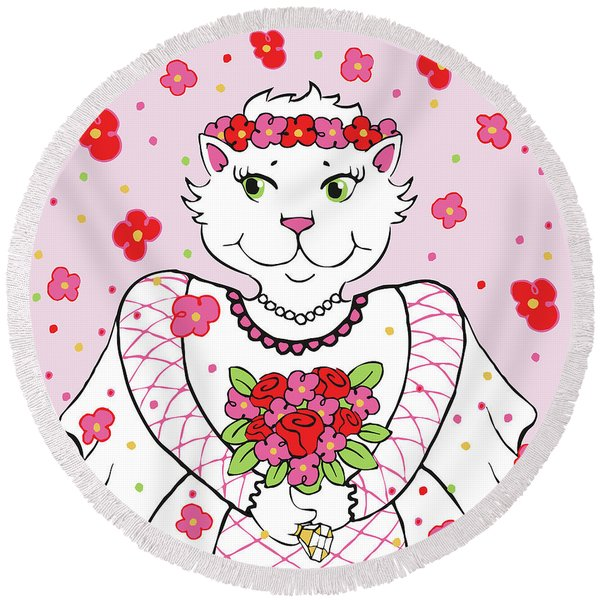 Kitty Bride Round Beach Towel