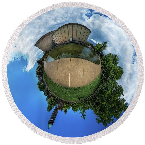 Kleinhans Music Hall At  Symphony Circle - Tiny Planet Round Beach Towel
