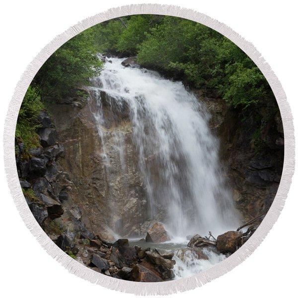 Klondike Waterfall Round Beach Towel
