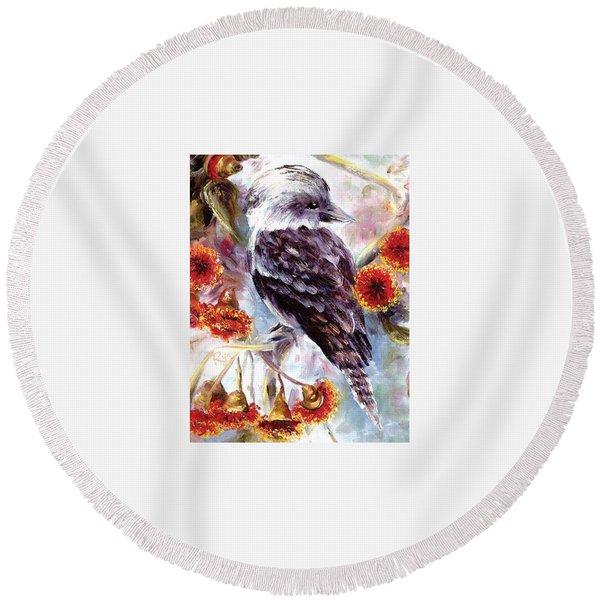 Kookaburra In Red Flowering Gum Round Beach Towel
