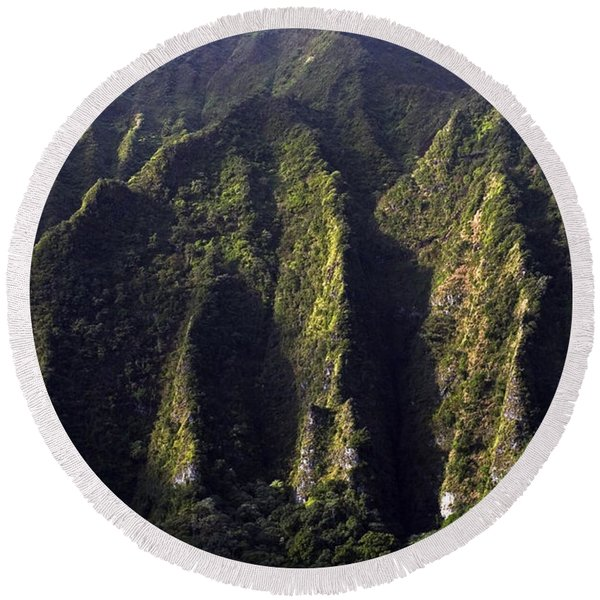 Koolau Range, Oahu Round Beach Towel