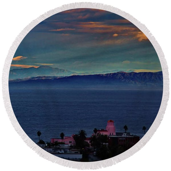 La Jolla Sunrise - Pink Lady Round Beach Towel