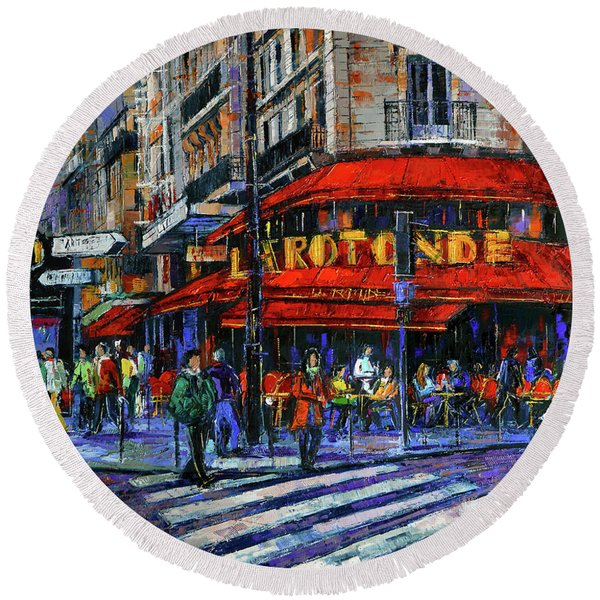 La Rotonde Paris Modern Impressionist Palette Knife Oil Painting Round Beach Towel