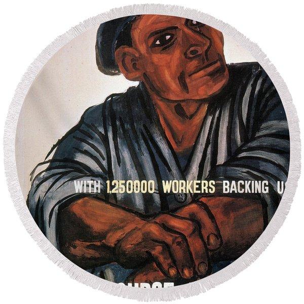 Labor Poster, 1930s Round Beach Towel