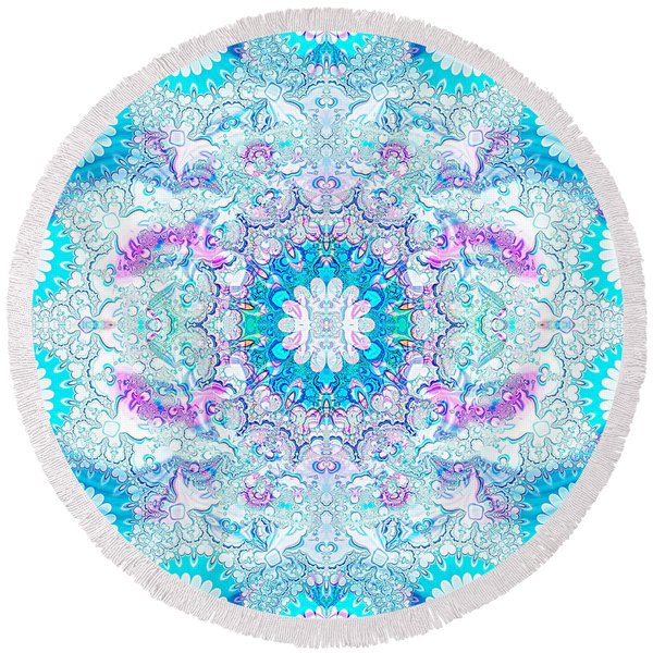 Lacy Mandala Round Beach Towel