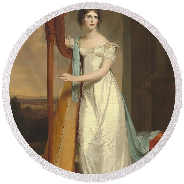 Lady With A Harp Round Beach Towel