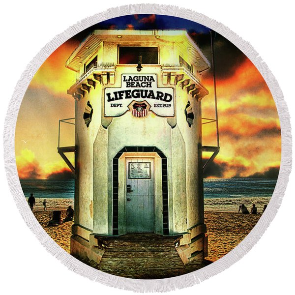 Laguna Beach Lifeguard Hq Round Beach Towel