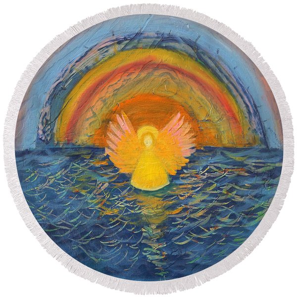 Lake Erie Tie Dye Angel Round Beach Towel