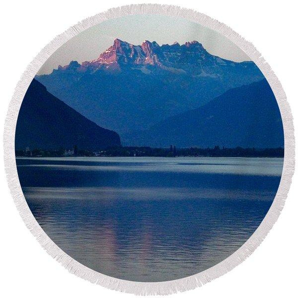 Lake Geneva, Switzerland Round Beach Towel
