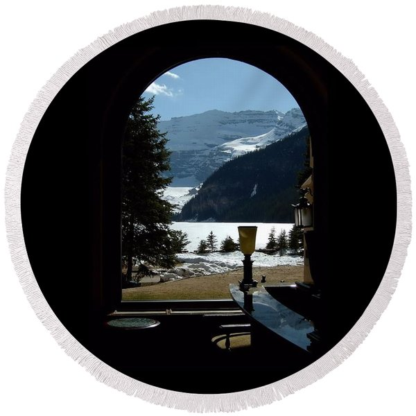 Lake Louise Inside View Round Beach Towel