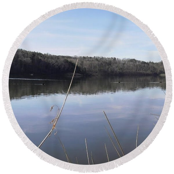 Lake Zwerner Early Spring Round Beach Towel