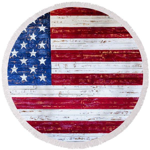 Land Of The Free,american Flag Canvas Print,photographic Print,art Print,framed Print,greeting Card, Round Beach Towel
