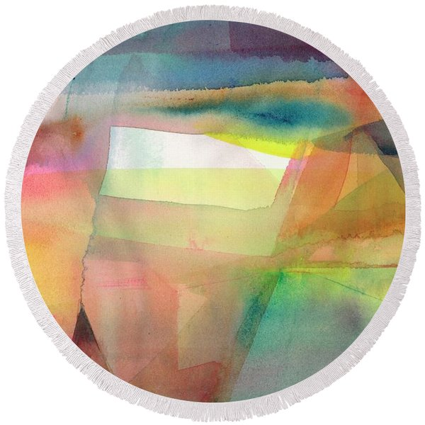 Round Beach Towel featuring the painting Landscape Illusion by Carolyn Utigard Thomas