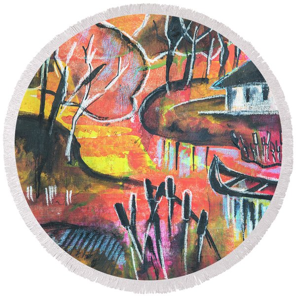 Round Beach Towel featuring the mixed media Landscape Seasonal Illustration by Ariadna De Raadt