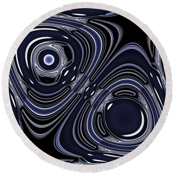 Lapis And Chrome Abstract Round Beach Towel