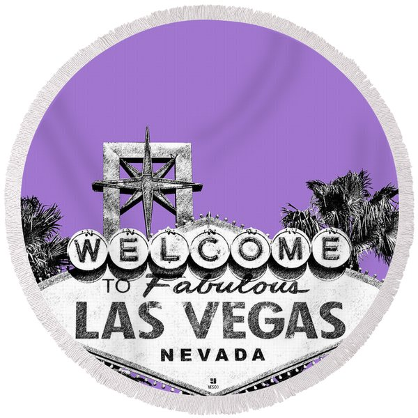 Las Vegas Sign - Purple Round Beach Towel