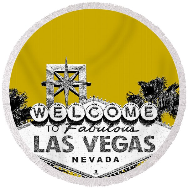 Las Vegas Welcome To Las Vegas - Gold Round Beach Towel