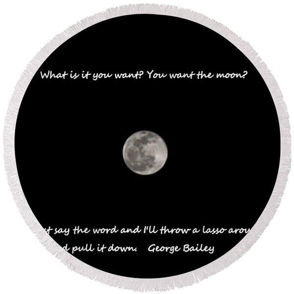 Lasso The Moon Round Beach Towel