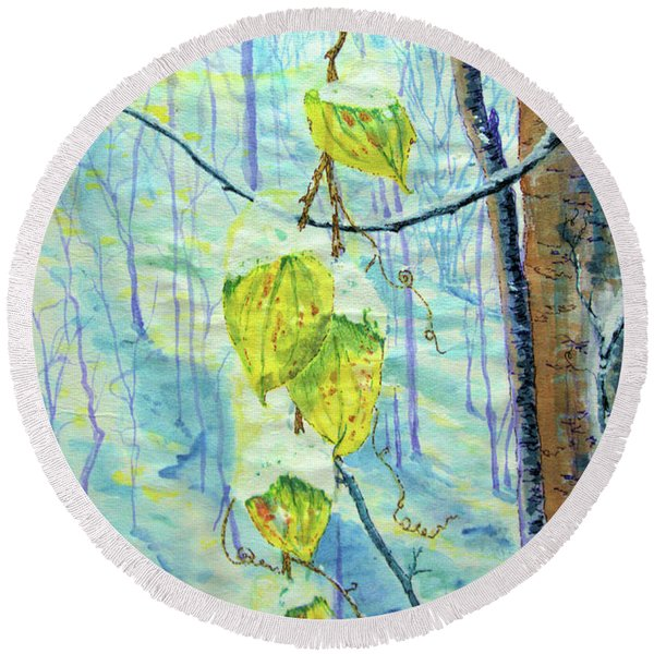Last Of The Leaves Round Beach Towel