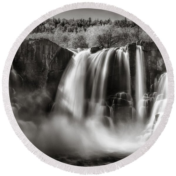 Late Afternoon At The High Falls Round Beach Towel