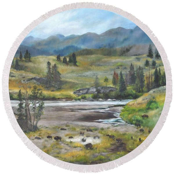 Late Summer In Yellowstone Round Beach Towel