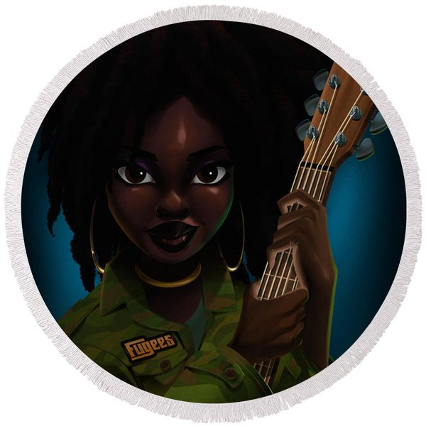 Lauryn Hill Round Beach Towel