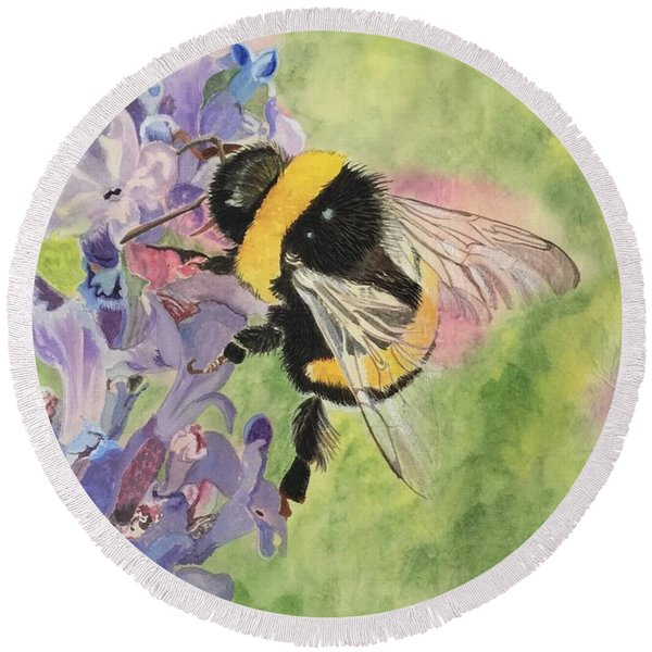 Lavender Visitor Round Beach Towel