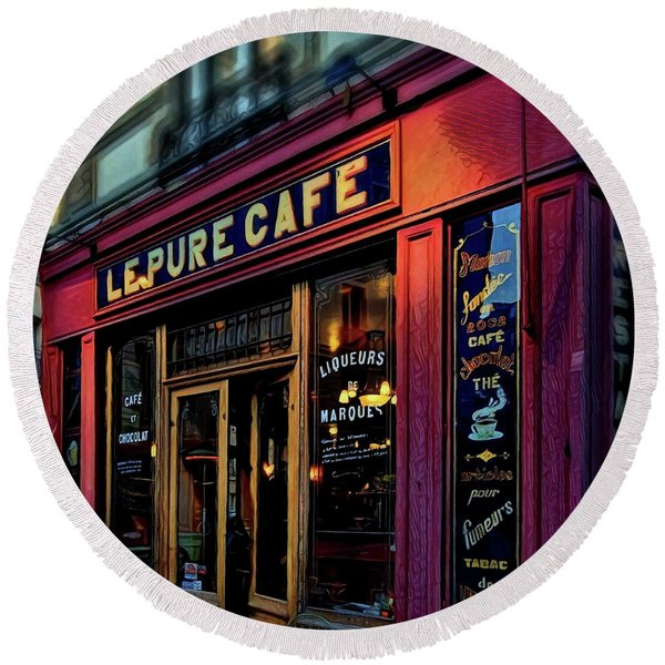 Le Pure Cafe - Paris Round Beach Towel