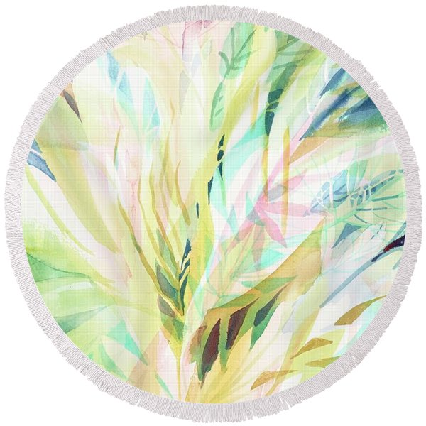 Round Beach Towel featuring the painting Leafy Flora by Carolyn Utigard Thomas