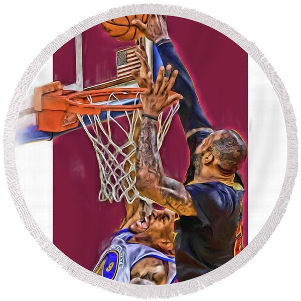 Lebron James Cleveland Cavaliers Oil Art Round Beach Towel