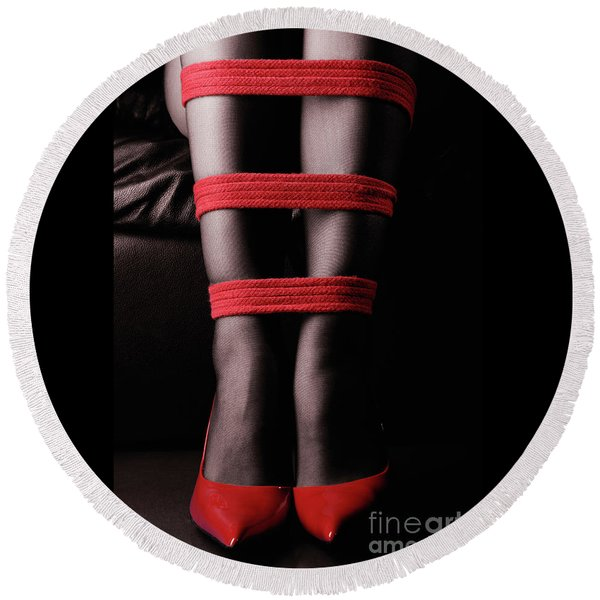 Legs In Red Ropes Round Beach Towel