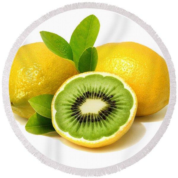 Lemon Kiwi Round Beach Towel