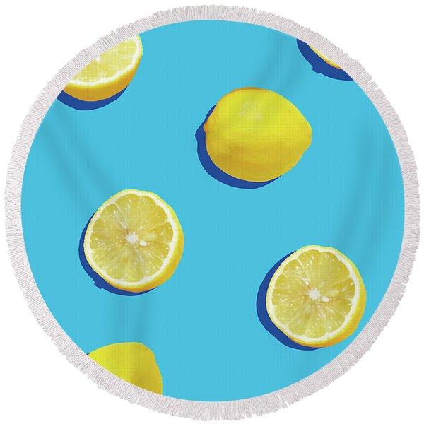 Lemon Pattern Round Beach Towel