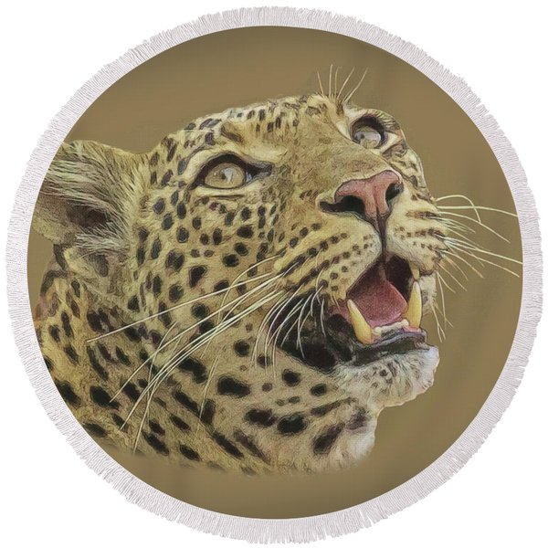 Leopard Tee Round Beach Towel