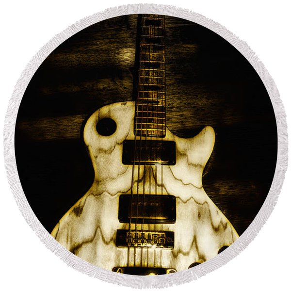Round Beach Towel featuring the photograph Les Paul Guitar by Bill Cannon