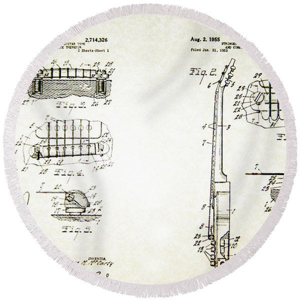 Round Beach Towel featuring the photograph Les Paul Guitar Patent 1955 by Bill Cannon