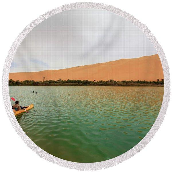 Libyan Oasis Round Beach Towel