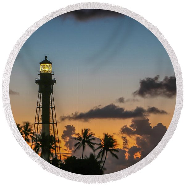 Lighthouse At Dawn #1 Round Beach Towel