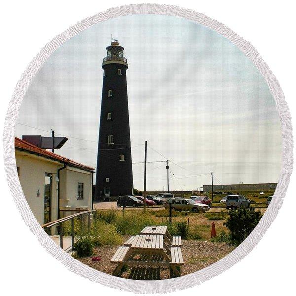 Lighthouse, Dungeness, Kent Round Beach Towel