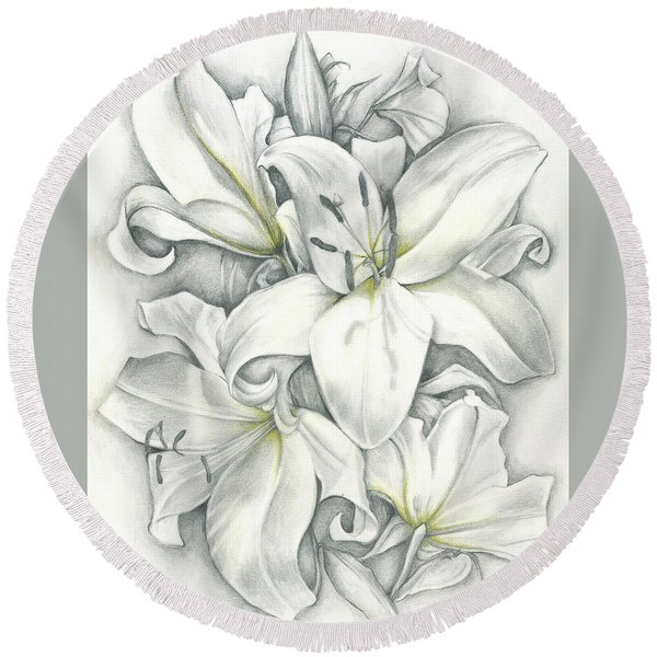 Lilies Pencil Round Beach Towel