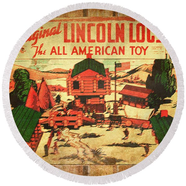 Lincoln Logs Retro Round Beach Towel