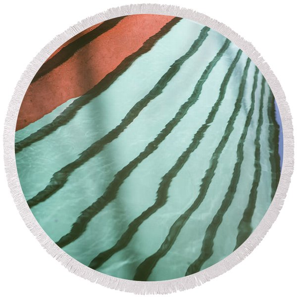 Lines On The Water Round Beach Towel